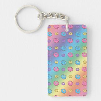 Rainbow donut pattern rectangle acrylic key chain