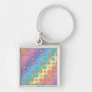 Rainbow donut pattern keychains