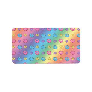 Rainbow donut pattern address label