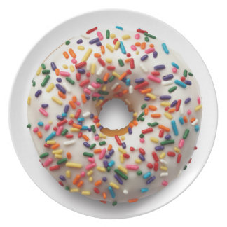 Rainbow Donut Sprinkle Lite, on White Plate