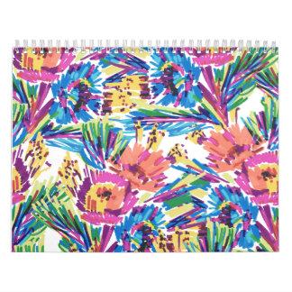 Rainbow Doodle Hand Drawn Colorful Flowers Wall Calendar