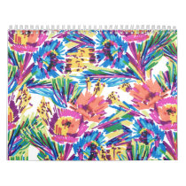 Rainbow Doodle Hand Drawn Colorful Flowers Calendar