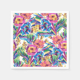 Rainbow Doodle Hand Drawn Colorful Flowers Disposable Napkins