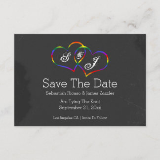 Rainbow Doodle Heart Chalkboard Gay Save The Date