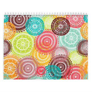 Rainbow Doodle Lace Doily Mandala Circles Calendars
