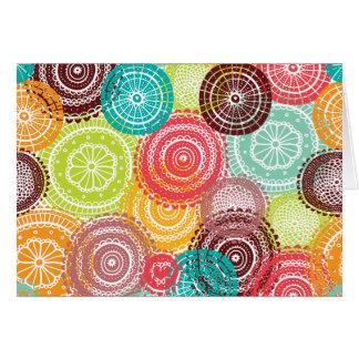 Rainbow Doodle Lace Doily Mandala Circles Card
