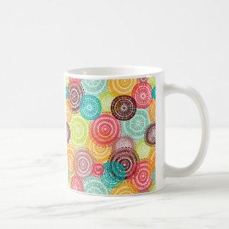 Rainbow Doodle Lace Doily Mandala Circles Coffee Mug