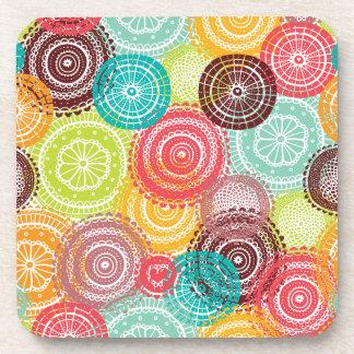 Rainbow Doodle Lace Doily Mandala Circles Drink Coaster