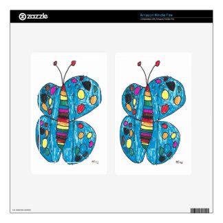 Rainbow Dot Butterfly by Nina Sparkles Kindle Fire Decal