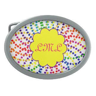 Rainbow dots buckle. oval belt buckle