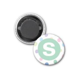 Rainbow Dots Green Initial Letter Kids' Art Magnet