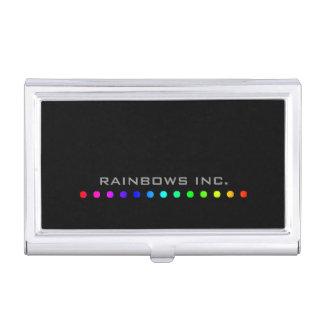 Rainbow Dots on Black Business Card Case