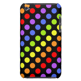 Rainbow Dots on Black Barely There iPod Covers