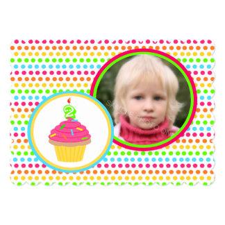 Rainbow Dots Photo Second Birthday Party Card