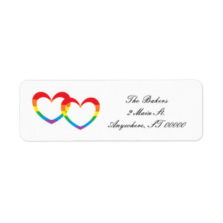 """Rainbow Double Hearts"" Address Labels"