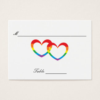 """""""Rainbow Double Hearts"""" Guests' Table Cards"""