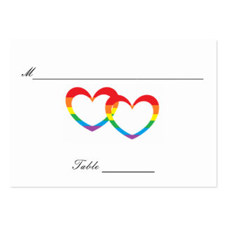 """""""Rainbow Double Hearts"""" Guests' Table Cards Large Business Card"""