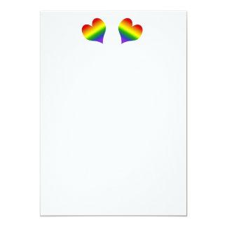 Rainbow Double Hearts Invitation