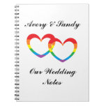 """Rainbow Double Hearts"" Personalized Notebook"