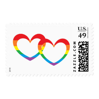 """""""Rainbow Double Hearts"""" Postage Stamps"""