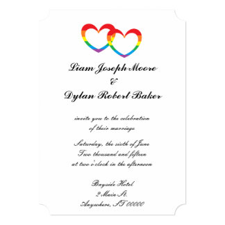 rainbow double hearts wedding invitations - Rainbow Wedding Invitations