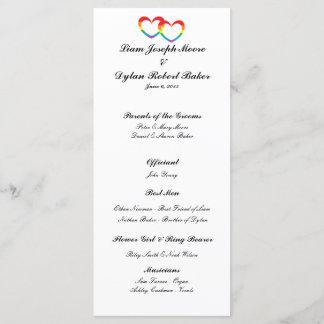 """Rainbow Double Hearts"" Wedding Program"