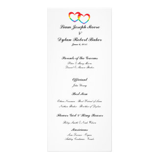 """Rainbow Double Hearts"" Wedding Program"