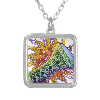 Rainbow Doumbek Silver Plated Necklace