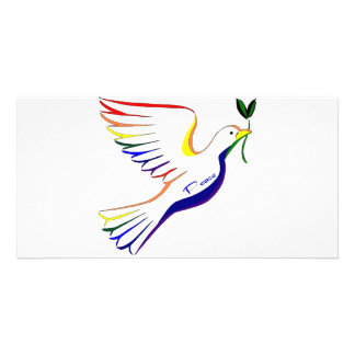Rainbow Dove Personalized Photo Card