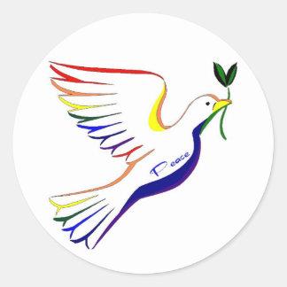 Rainbow Dove Round Sticker