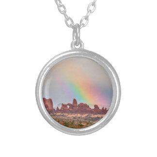 Rainbow Down Round Pendant Necklace