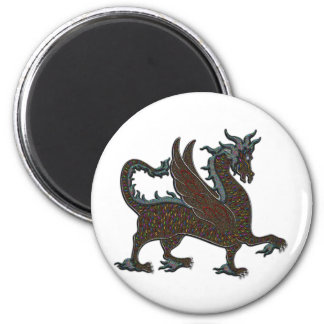 Rainbow Dragon 2 Inch Round Magnet
