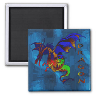 Rainbow Dragon 2 Inch Square Magnet