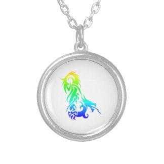 Rainbow Dragon 3 Round Pendant Necklace