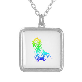 Rainbow Dragon 3 Square Pendant Necklace