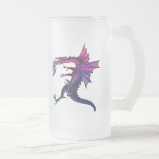 Rainbow Dragon Frosted Glass Beer Mug