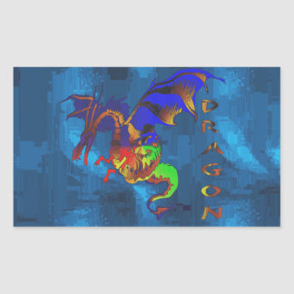 Rainbow Dragon Rectangular Sticker
