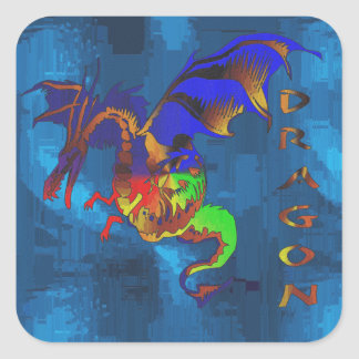 Rainbow Dragon Square Sticker