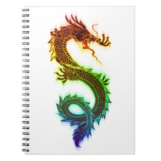 Rainbow_Dragon_Vector_ RAINBOW DRAGON COLORFUL DRA Spiral Notebooks