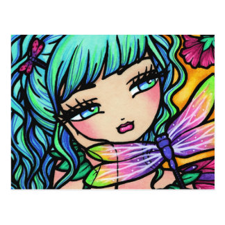 Rainbow Dragonfly Flower Fairy Fantasy Postcard