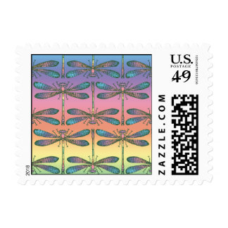 Rainbow Dragonfly Postage Stamp