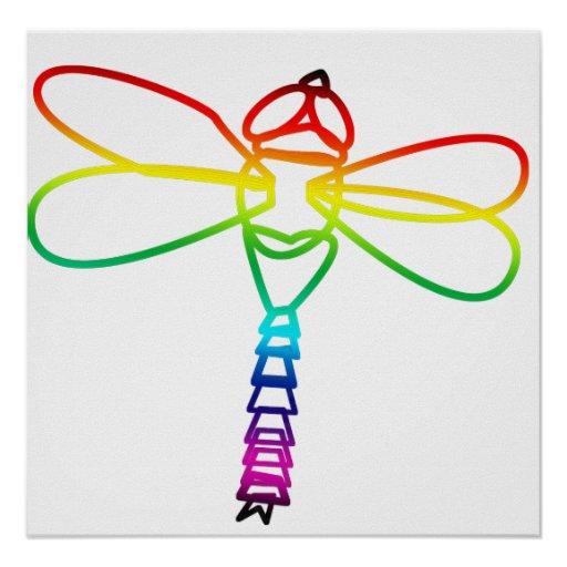 Rainbow Dragonfly Poster