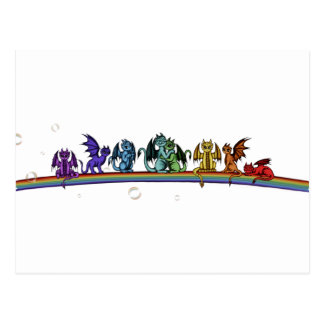 Rainbow Dragons Postcard
