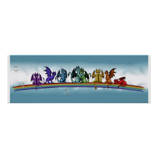 Rainbow Dragons Poster
