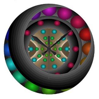 Rainbow Dramatic Bold Colorful Artsy Decor Large Clock