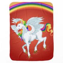 Rainbow Dream Pegasus House Baby Blanket