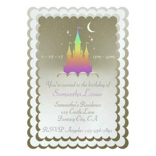 Rainbow Dreamy Castle In The Clouds Birthday Custom Invitation