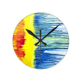 Rainbow Drip Art Wall Clock