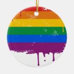 Rainbow drip christmas ornament