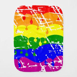 Rainbow Dripping Paint Distressed Baby Burp Cloth